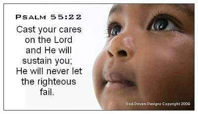 God Driven Designs Cast Your Cares Inspirational Baby Psalm Seed Card Message Magnet Image