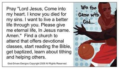 Win the Game with God Basketball Prayer of Salvation Seed Cards - Large Font