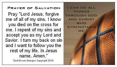 God Driven Designs Inspirational Win the Game With God Basketball Prayer of Salvation Prayer Card