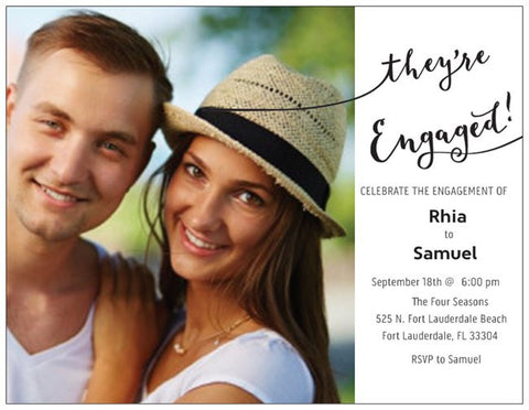 "Engagement Party Custom Horizontal Flat 5.5"" x 4"" Invitations (Sample Shown)"