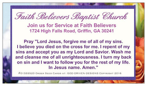 Custom Easter Floral Prayer of Salvation Seed Card