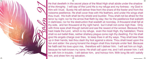Under His Feathers Psalm 91 Banner - White Bk