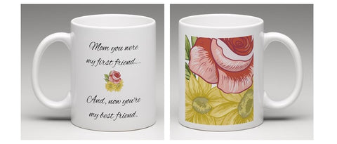 Best Friends with Mom Floral Mug