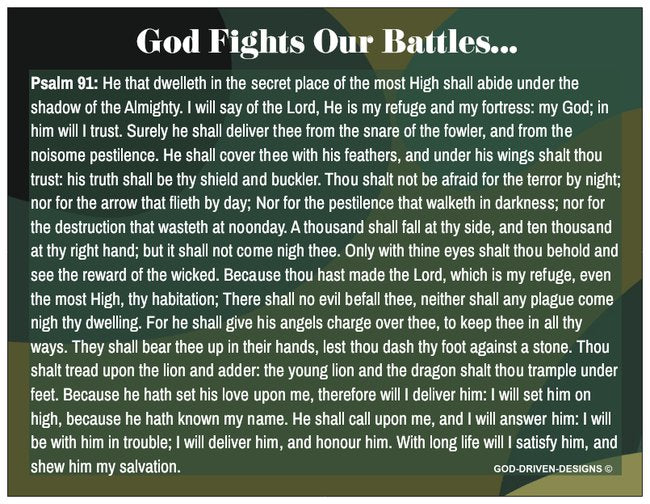 Psalm 91 God Fights Our Battles Prayer Card - Camo / Military Theme