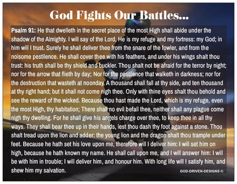 God Fights Our Battles Biker Prayer Card Psalm 91 - Motorcycle Wheelie