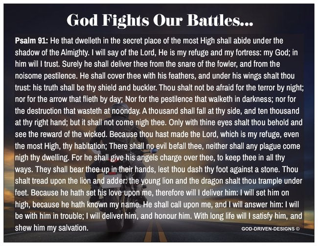 God Fights Our Battles Prayer Card Psalm 91 - Motorcycle Theme