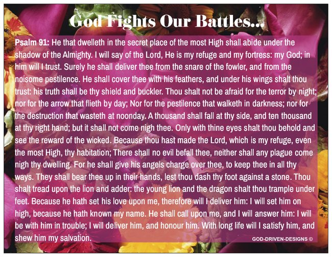 God Fights Our Battles Floral Prayer Card Psalm 91 - Flowers