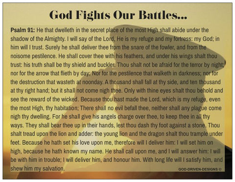 God Fights Our Battles Prayer Card Psalm 91 - Military Salute