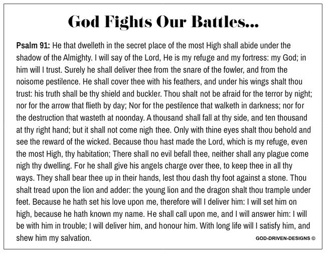 God Fights Our Battles Prayer Card Psalm 91