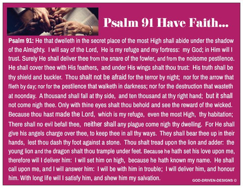 Psalm 91 Have Faith Prayer Card (Purple with a Blank Back)
