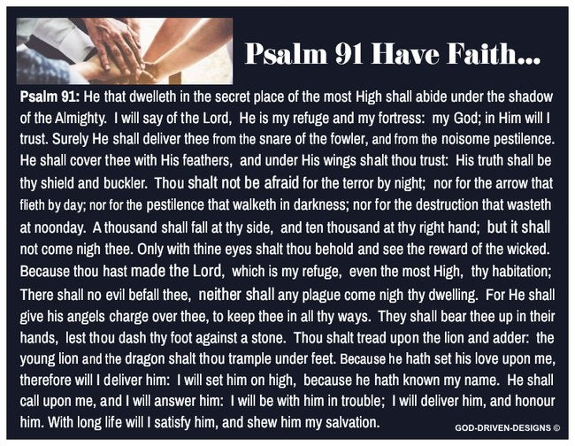 Psalm 91 Have Faith Prayer Card (Blue with Blank Back)