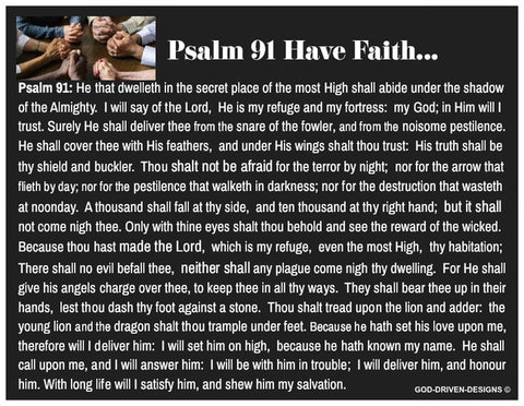 Psalm 91 Have Faith Prayer Card (Black with a Blank Back)