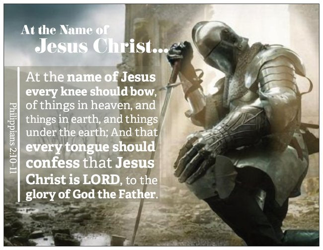 Name of Jesus Knight Knee Prayer Card with Phil 2:10-11