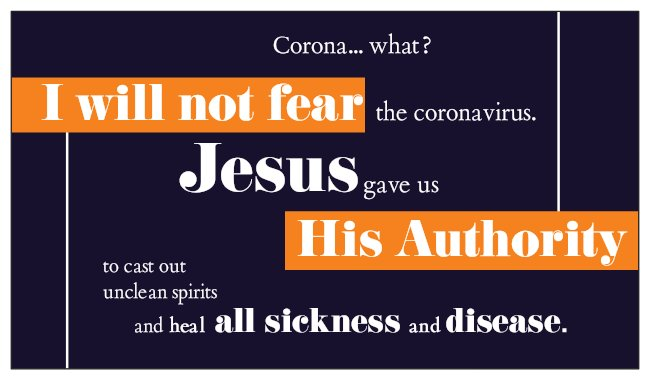 Corona What? Do Not Fear Coronavirus Jesus Authority Seed Card