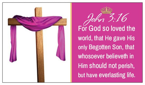 John 3:16 The Lord's Prayer & Prayer of Salvation Seed Card - Easter Cross