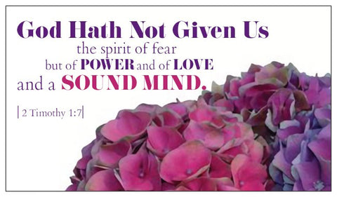 Bible Verse Card 2 Timothy 1:7 No Fear - Floral Design