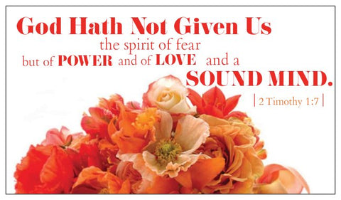 Bible Verse Card 2 Timothy 1:7 Power, Love and a Sound Mind - No Fear