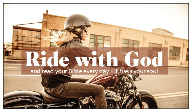 Seed Card: Ride with God Motorcycle Card Female Biker Theme