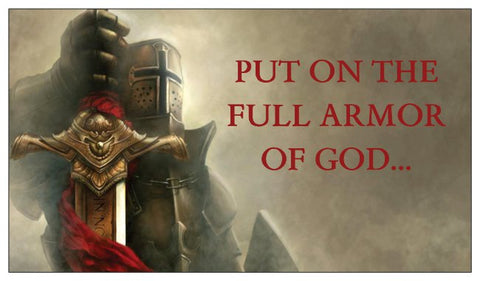 Armor of God Seed Card - Warrior Knight with Ephesians 6:13-17 (Reduced Text on