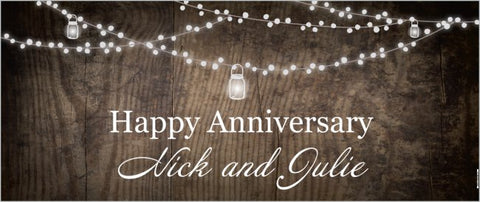 Create Your Own Custom Made 2.5' x 6' Banner - Wood Theme Anniverary Message
