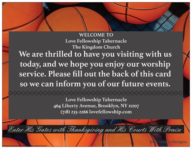 Custom Basketball Ministry Church Welcome Card