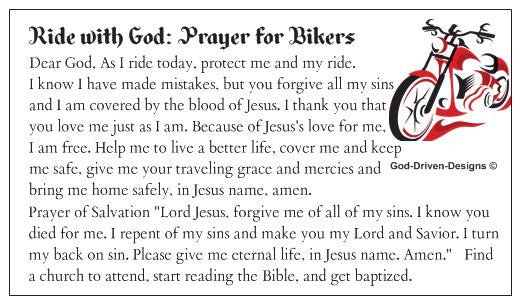 Motorcycle Biker Prayer of Salvation Seed Card