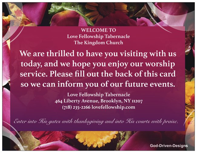 Custom Church Welcome Cards - Floral Theme