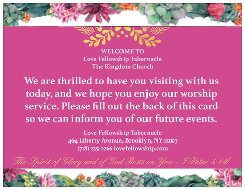 Order Floral Welcome Cards for Your Church