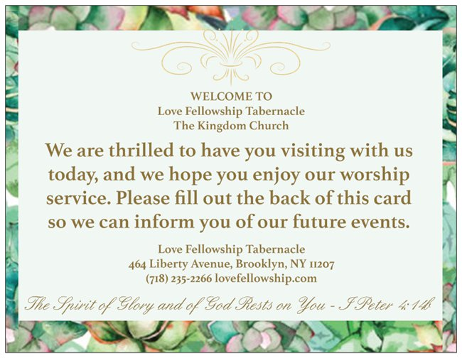 Order Floral Church Welcome Cards for Your Next Event