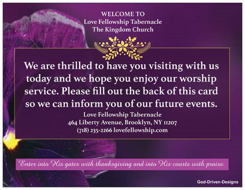 Custom Church Welcome Cards - Purple Theme