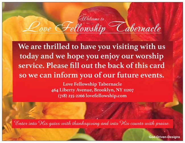 Church Welcome Event Cards - Floral Red Orange