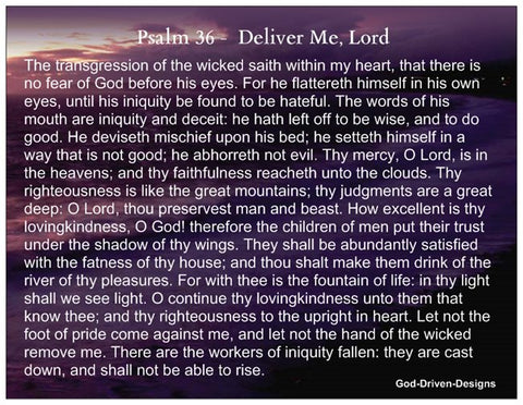 Psalm 36 and Psalm 27 Prayer Card Deliver Me, Lord
