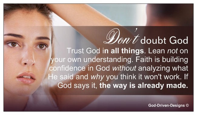 Don't Doubt God Event Place Card - Woman in Mirror