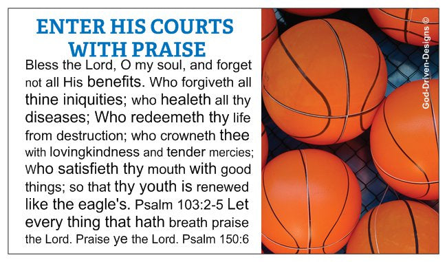 Enter His Courts With Praise Basketball Wallet Size Seed Card