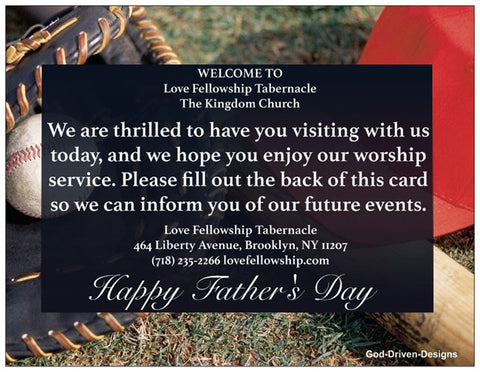 Father's Day Church Welcome Cards - Baseball