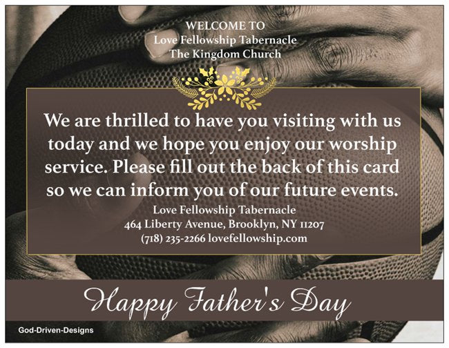 Father's Day Church Welcome Cards - Basketball
