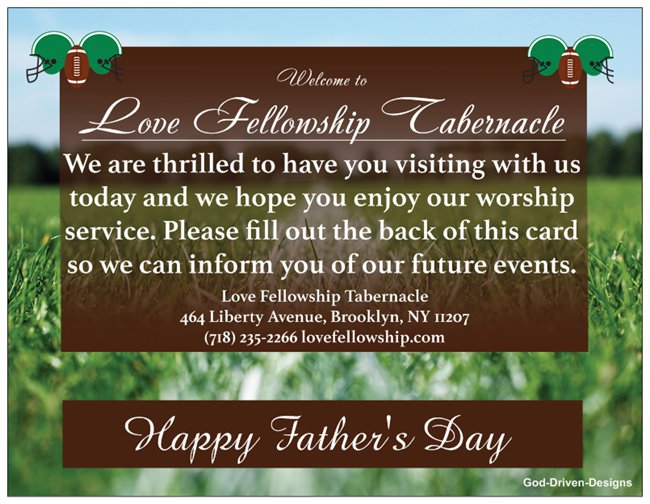Father's Day Church Welcome Cards - Football Field