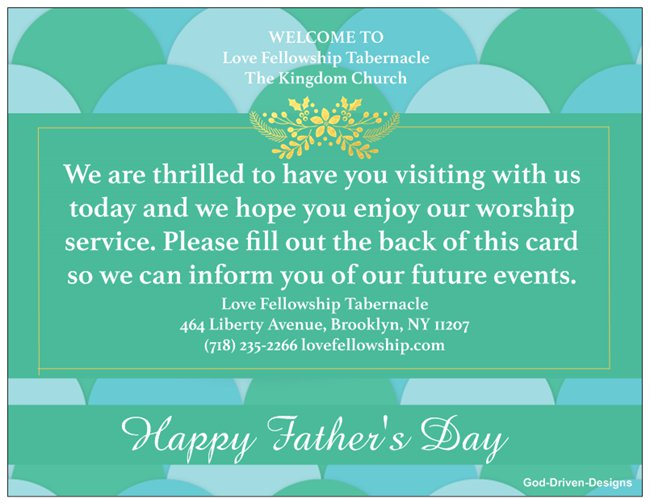 Father's Day Church Welcome Cards - Green Bubbles