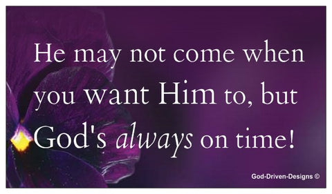God's Always On Time Event Card - Purple Flower
