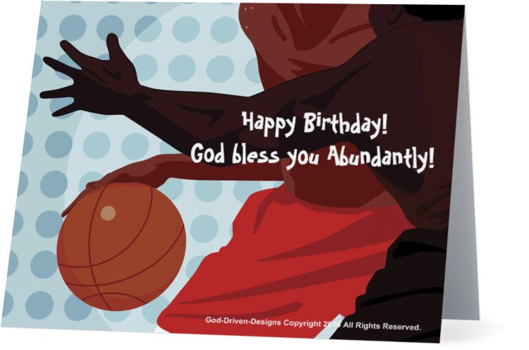 Happy Birthday Greeting Card - Basketball Theme