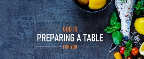 God's Preparing a Table For You 2.5' x 6' Conference Banner - Ingredients