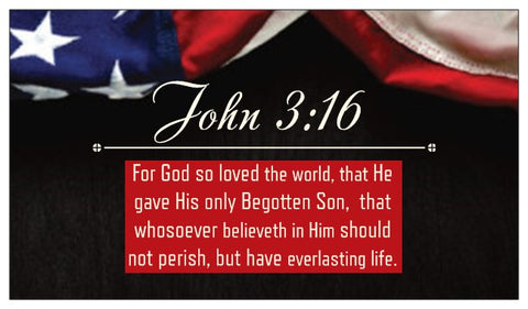 John 3:16, The Lord's Prayer, Prayer of Salvation Seed Card - American Flag