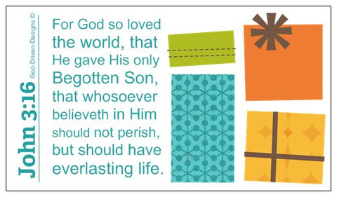 John 3:16 Limited Edition Christmas Wallet Size Seed Card - Aqua