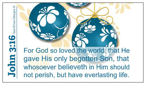 John 3:16 Limited Edition Christmas Wallet Size Seed Card - Blue