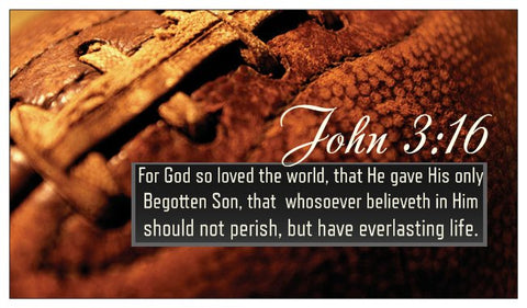 John 3:16, The Lord's Prayer, Prayer of Salvation Seed Card - Football