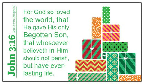 John 3:16 Limited Edition Christmas Wallet Size Seed Card - Green
