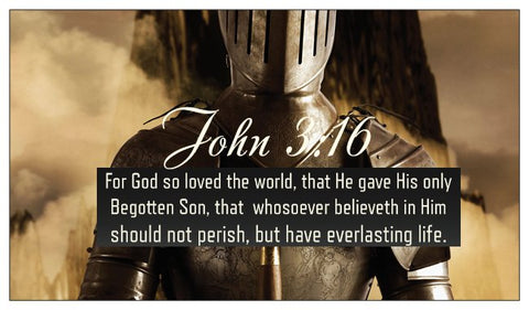 John 3:16, The Lord's Prayer, Salvation Seed Card - Knight / Soldier