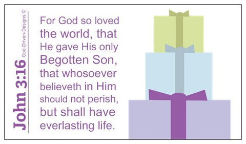 John 3:16 Limited Edition Christmas Wallet Size Seed Card - Purple