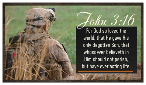 John 3:16, The Lord's Prayer, and Salvation Seed Card - Military