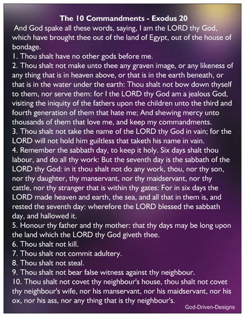 Exodus 20 The 10 Commandments - Purple